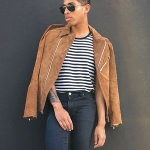 Zara Brown Suede Moto Jacket
